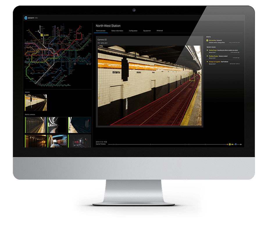 Rail security on screen